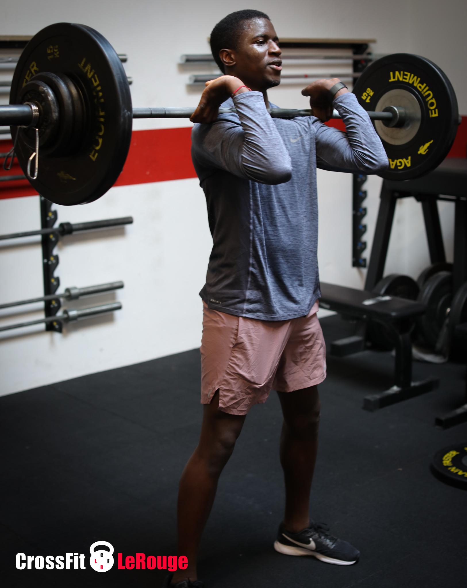 CrossFit WOD weightlifting power clean toestobar