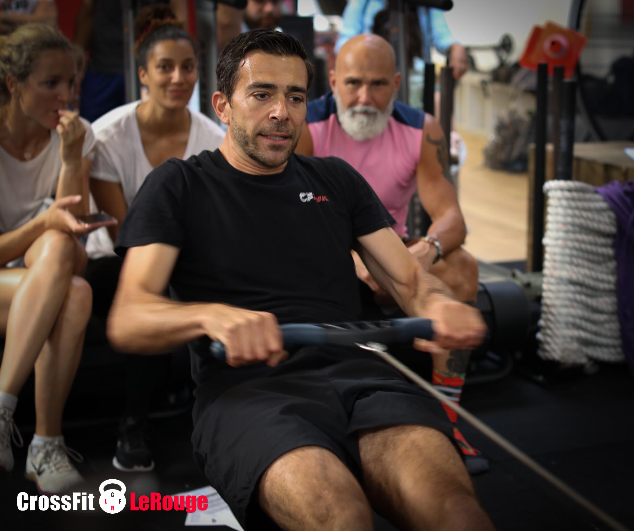 CrossFit WOD rowing deadlift box-jumps